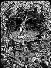 wood-engraving original print: Tapestry Song for Mountains and Molehills by Frances Cornford